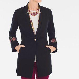 Chico's Black Floral Embroidered Ponte Jacket